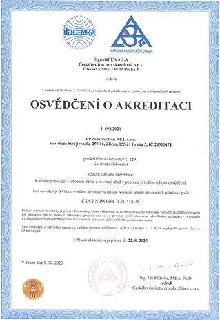 Osvedceni o akreditaci kalibracni labora