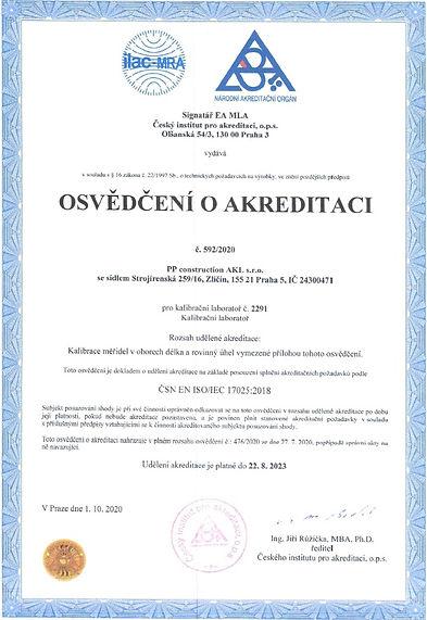 Osvedceni o akreditaci kalibracni laborator c.2291 pp construction akl praha.jpg