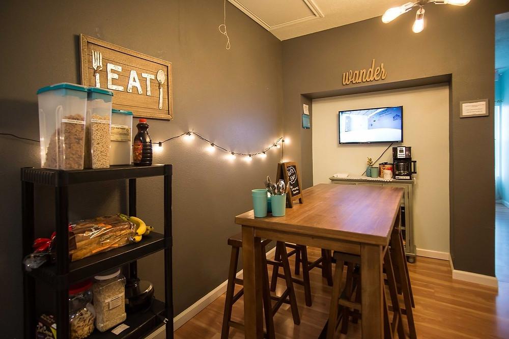 Kitchen area of Black-Owned Hostel Wanderstay in Houston Texas