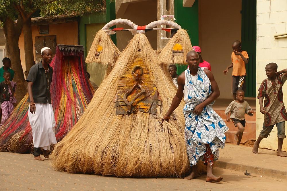 Ouidah Voodoo Festival Benin African Costume Zangbetos Raffia Tribe