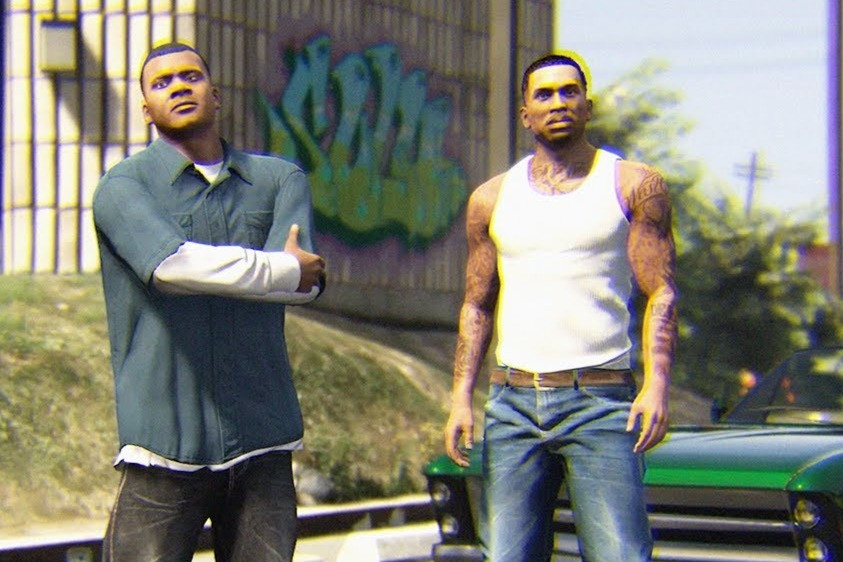 Black male video game characters Franklin and CJ from GTA stand in front of car together