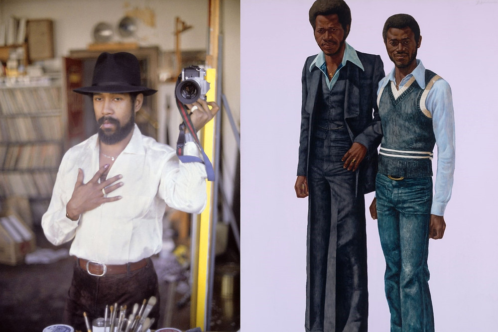 Artist Barkley L. Hendricks taking a mirror selfie with 70s style black figure painting with pink background