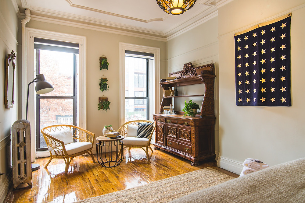 Interior of Black-Owned B+B, Yellow Block in Bed-Stuy