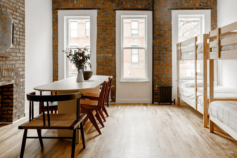 The interior of Black-owned boutique hostel, S,T Eat + Stay by Sincerely, Tommy in Brooklyn