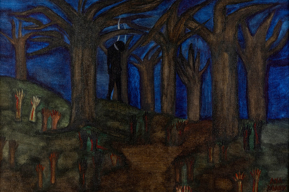 Horrifying painting of a man hanging in the woods by black outsider artist Mary Frances Whitfield