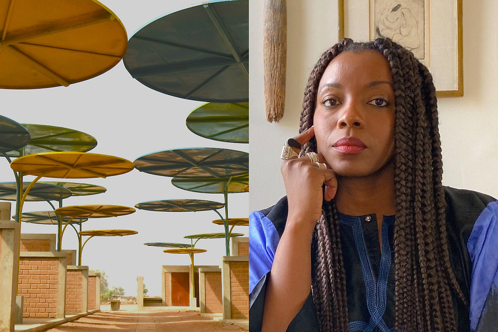 Black female architect Mariam Kamara sits profoundly next to a contemporary african market that she designed