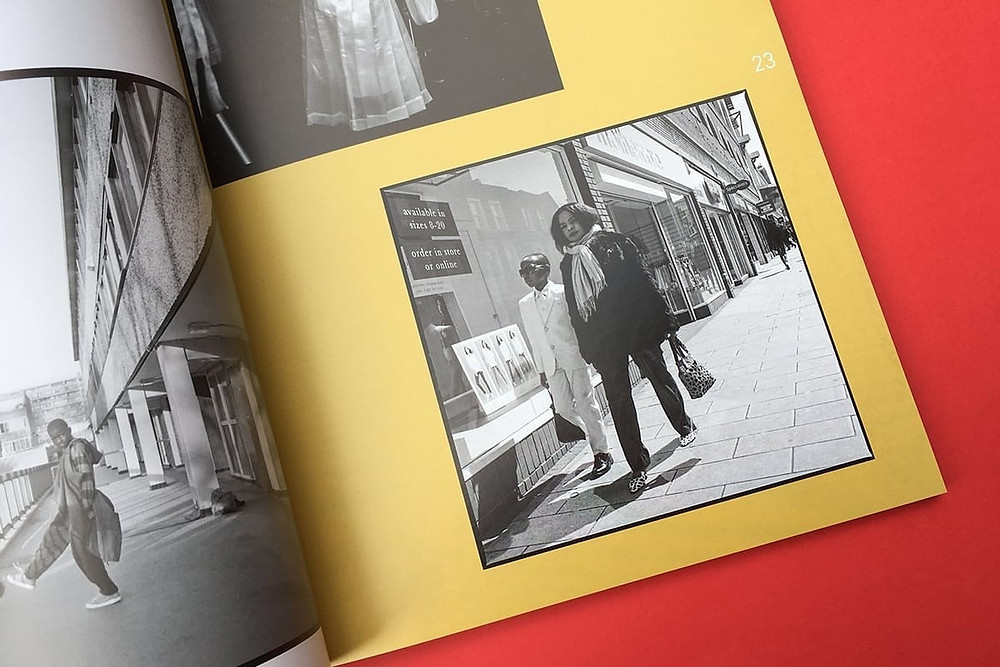 Black owned British Magazine Yellow Zine opened to a corner featuring black and white photography