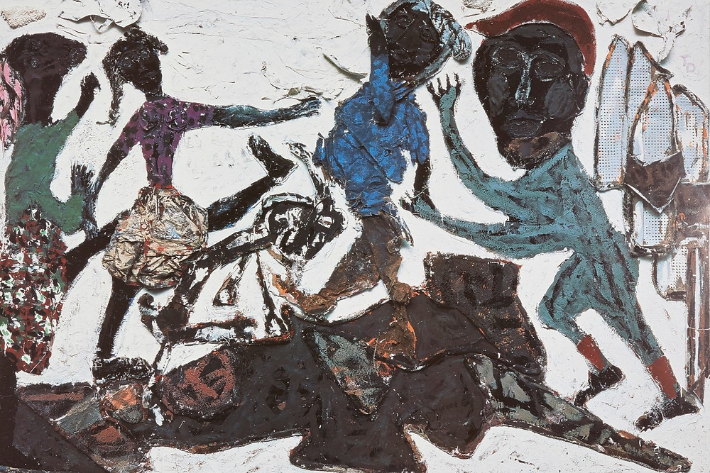 Muted toned figures move and dance in this painting by black outsider artist Thornton Dial