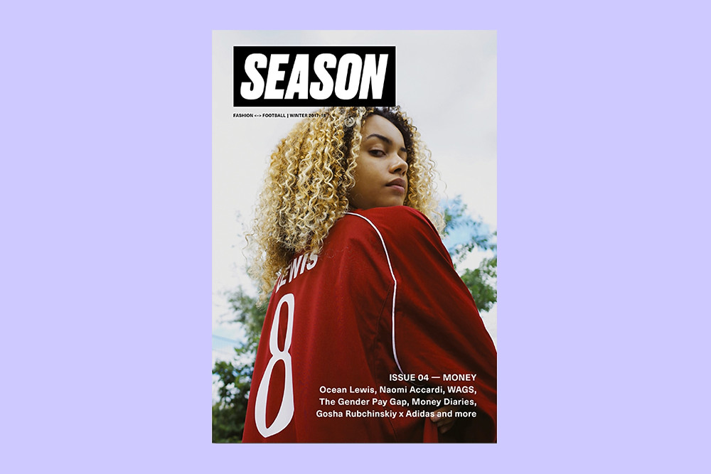 Black owned British Magazine Season Issue 4 Cover featuring a black woman model in a football jersey