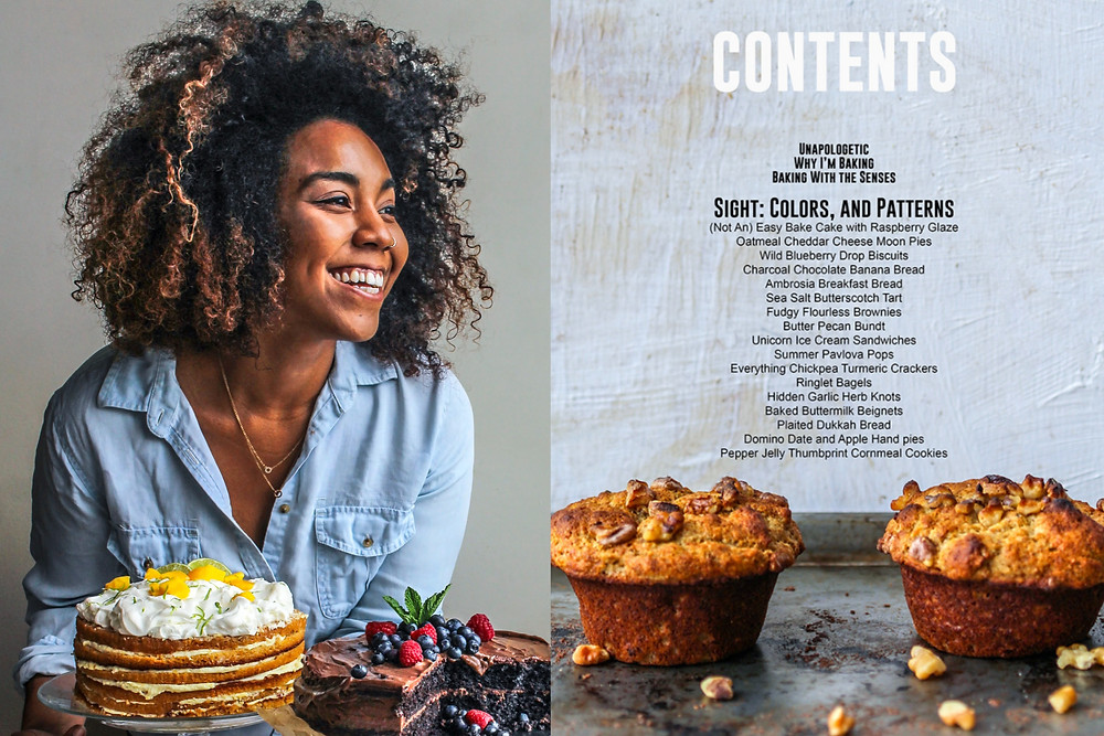 Black female baker Jerrelle Guy promoting her cookbook Black Girl Baking with chocolate fruit cake and muffins