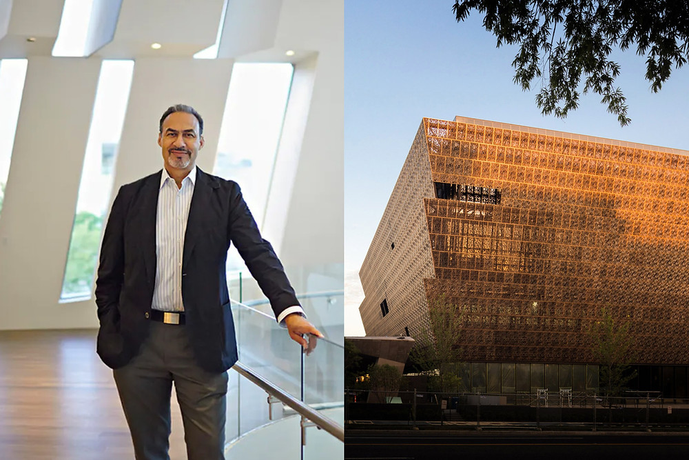 Black  architect Phil Freelon stands proud next to the National Museum of African American History and Culture in which he was part of the design team
