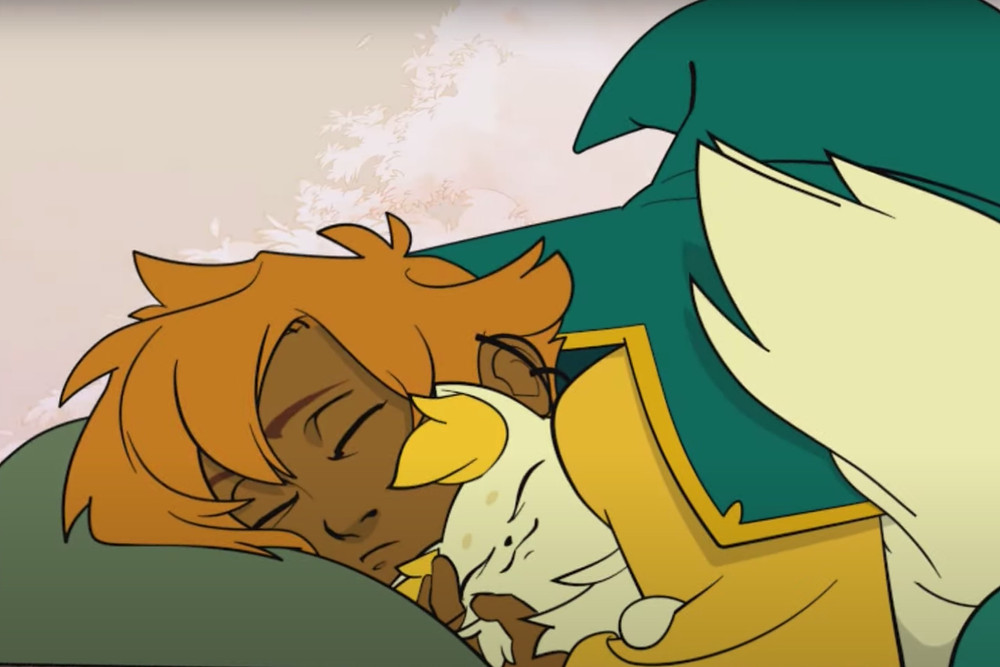 Video game character Stella from the Spiritfarer and her cat Daffodil snuggle together and sleep