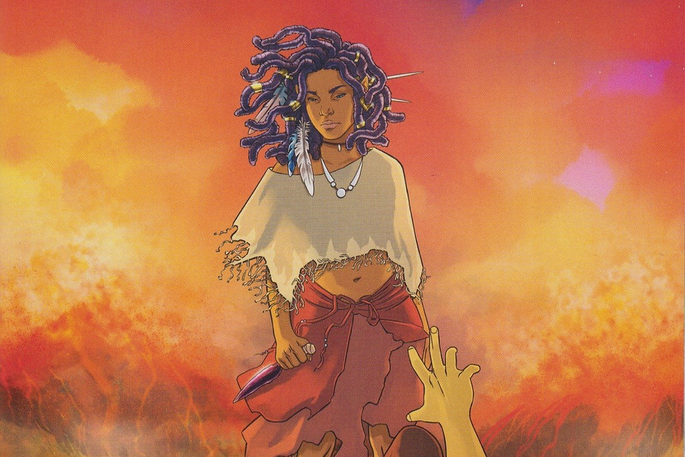 An image of a black girl by comic book illustrator Ashley A. Woods