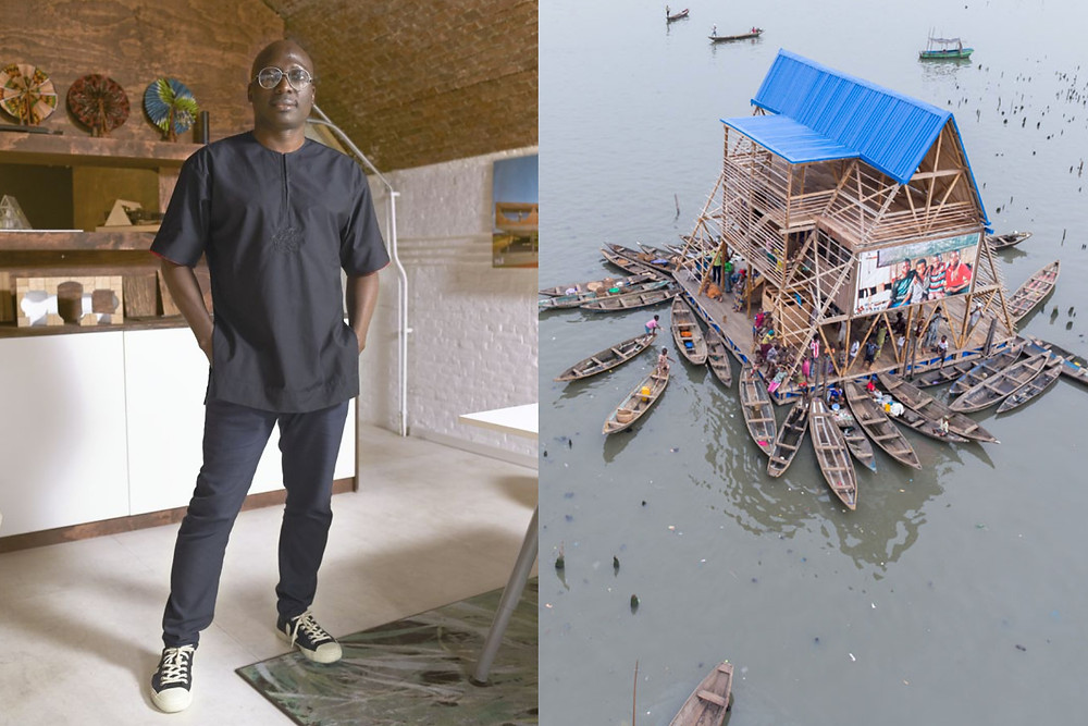 African architect Kunle Adeyemi stands proud next to the NLE floating school.