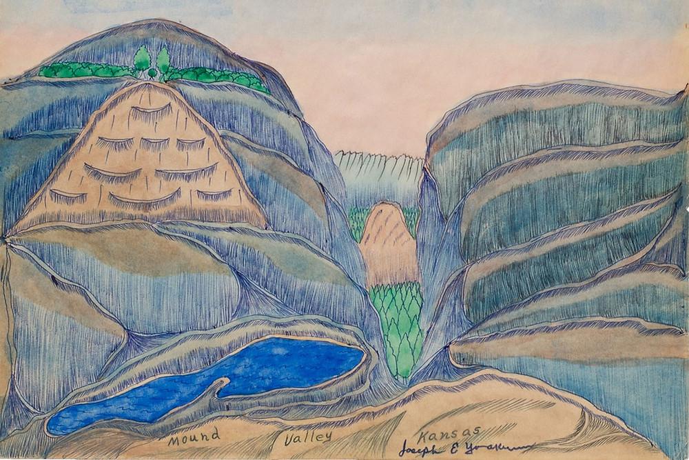Black outsider artist Joseph Yoakum landscape drawing