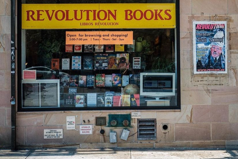 A photo of the store font black-owned bookstore Revolution Books in New York City
