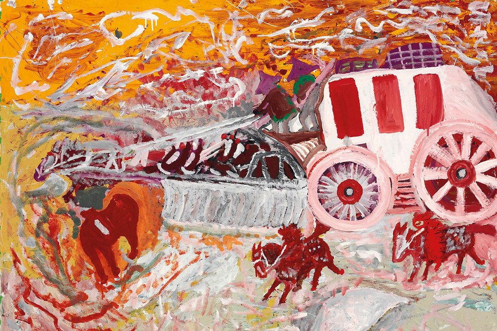 Red, Yellow, Orange hues from Black outsider artist William L. Hawkins