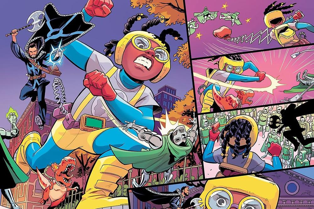 Superhero Moon Girl illustration by black female artist Natacha Bustos