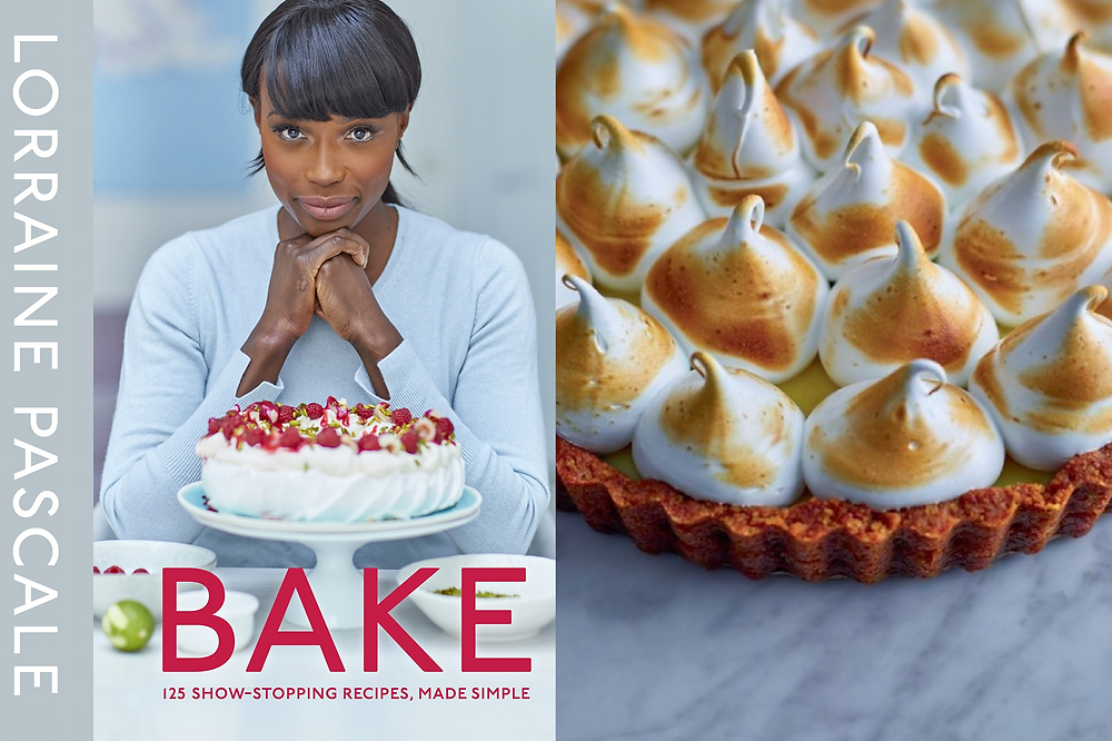Black female baker Lorraine Pascale on the cover of her cookbook Bake with a lemon meringue pie