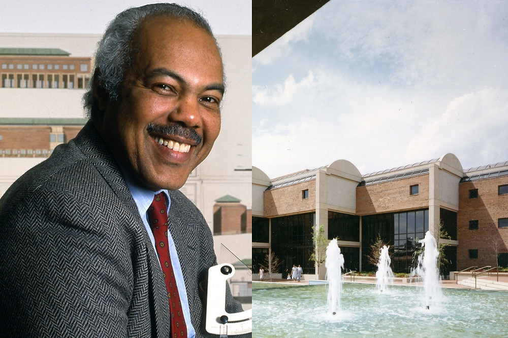 Black architect Max Bond Jr. smiles proudly alongside the Martin Luther King Jr. Center which he designed.