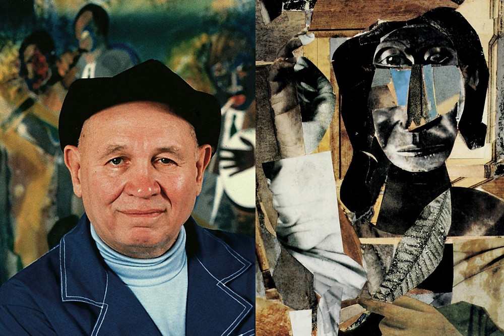 Artist Romare Bearden with collage artwork of black woman