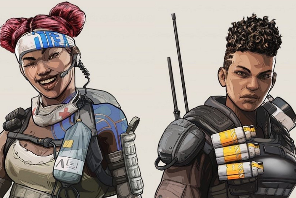 Black Female Video game character Lifeline and Bangalore from Apex Legends stand smiling and frowning