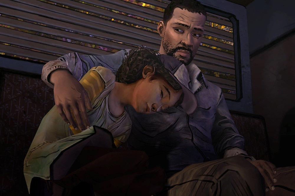 Black video game characters Clementine and Lee from the walking dead comfort each other