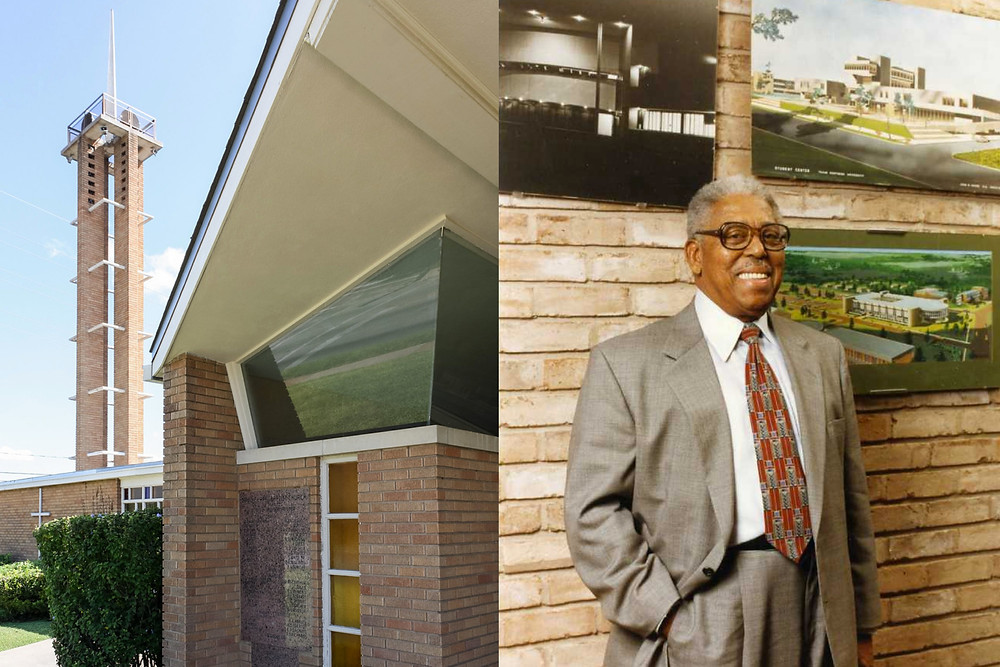 Black  architect John S. Chase stands proud next to one of the buildings he designed.