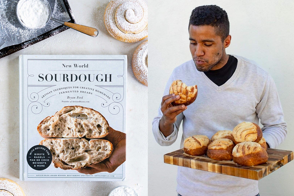Black male baker Bryan Ford eating bread next to his cookbook New World Sourdough