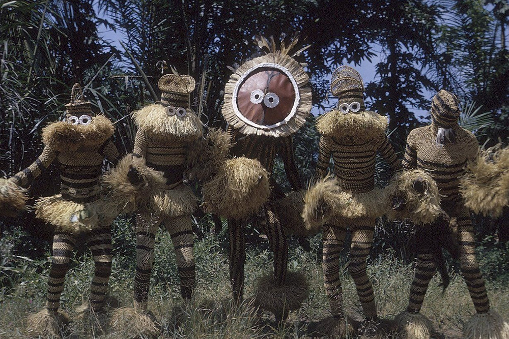 Gungu Festival In DR Congo African Tribe Costume Congolese Raffia Minganji Circumcision Mask Pende People Fesnag