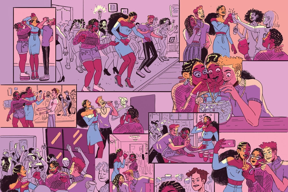 Pink hue comic book strip about a party by black comic book female illustrator Robyn Smith
