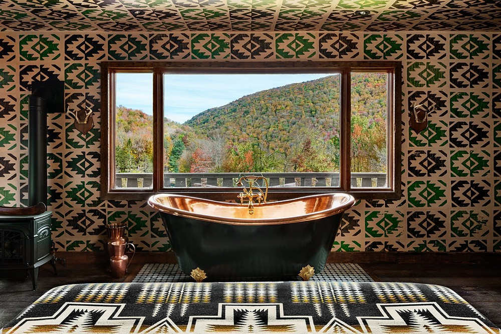 A bath with a view at the Black-Owned The Urban Cowboy
