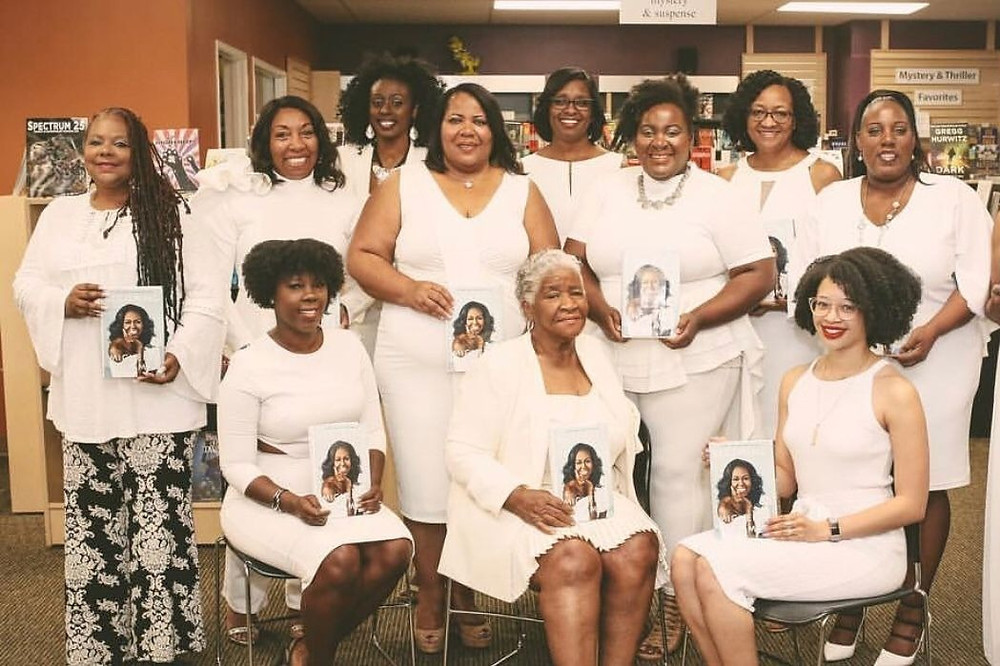Black girl book club Mocha Girls Read meet up to discuss Michelle Obama's book becoming, dressed all in white