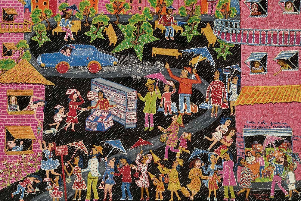 A colourful painting by black outsider artist Maria Auxiliadora Da Silva of people in the street while its raining
