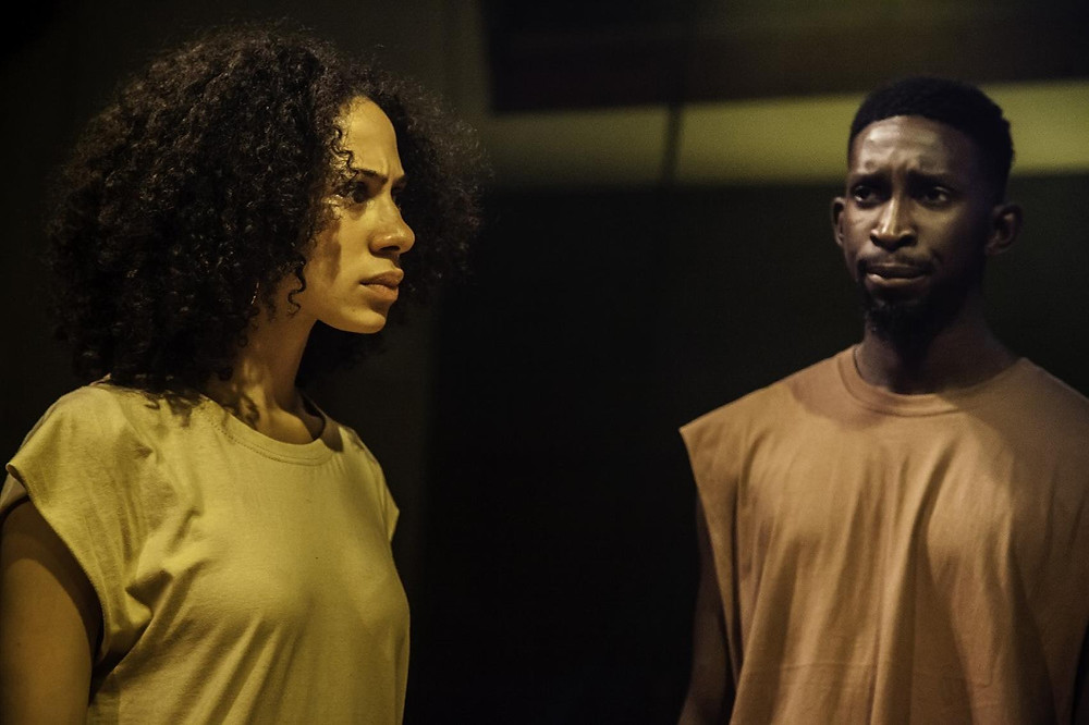 Two black actors in the play bite your tongue by black founded theatre company Talawa