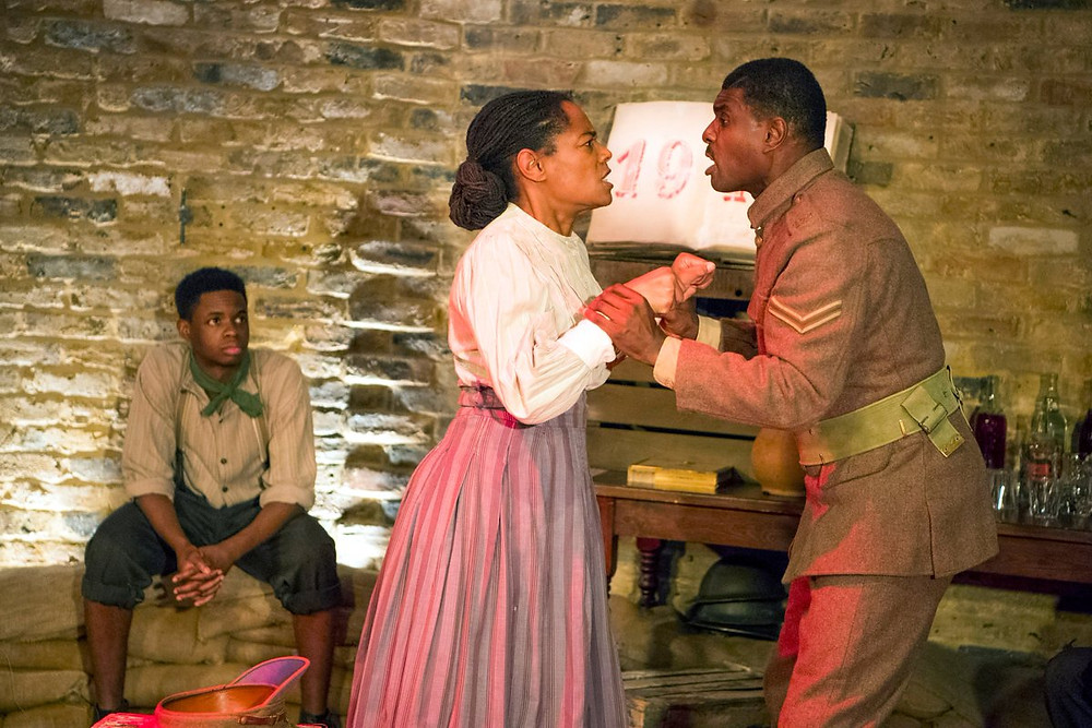Black actors perform in a war inspired production by Strongback theatre