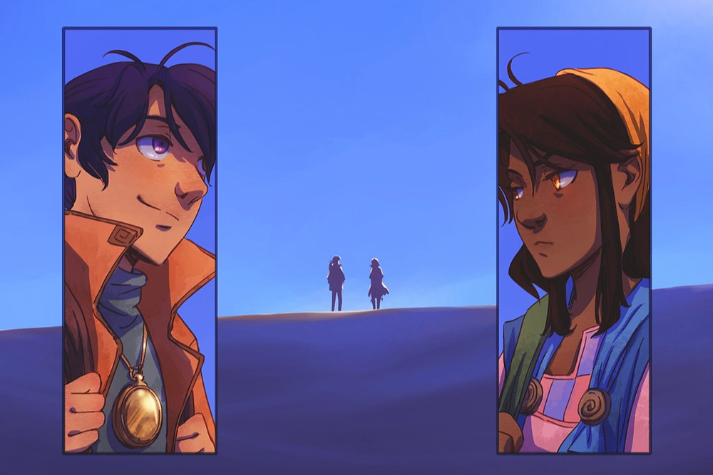 A Boy and Girl talk in a comic book by black female illustrator Nilah Magruder
