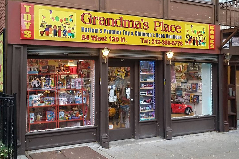 A photo of the storefront of black-owned book and toy store in Brooklyn New York Grandma's Place
