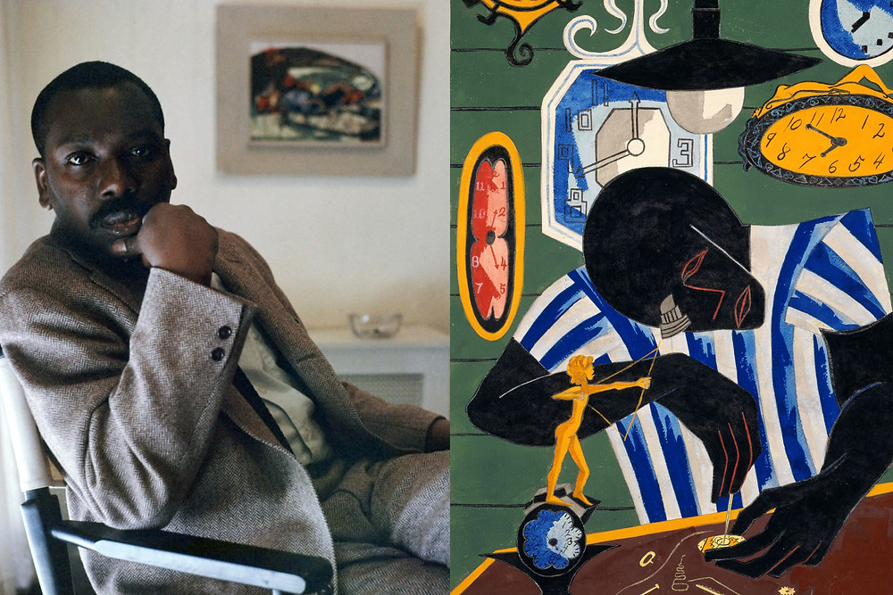Artist Jacob Lawrence Sits in great suit in his home next to painting of a black man fixing a watch