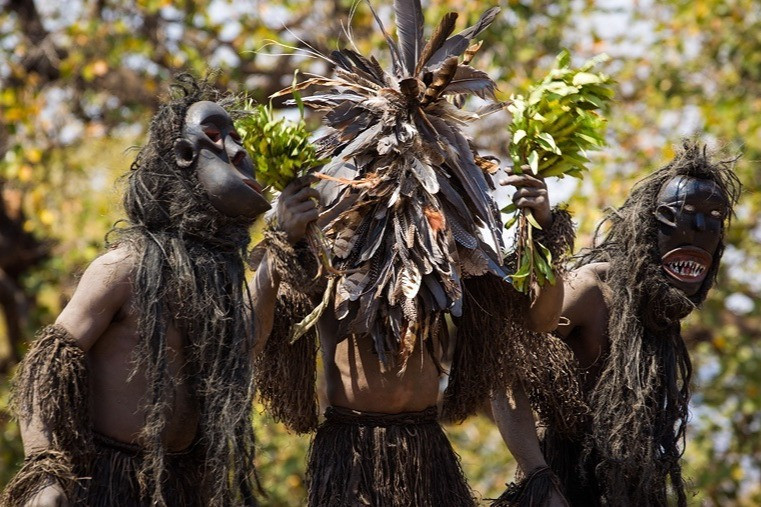 Chewa Tribe People Celebrating Festival For The Dead In Malawi Africa Costume