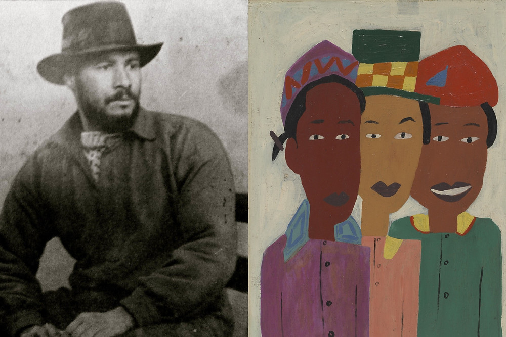 Black and White image of William H. Johnson sitting down next to his painting of 3 black women