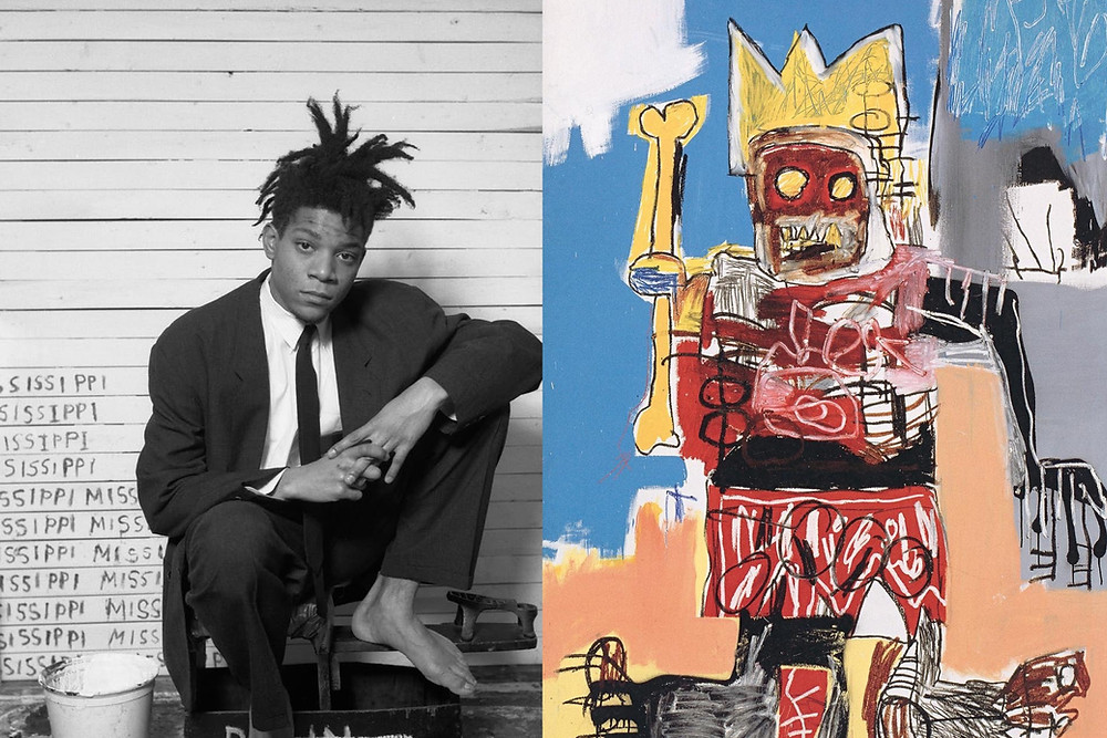 Black and white photography of Jean-Michel Basquiat sitting down next to his artwork