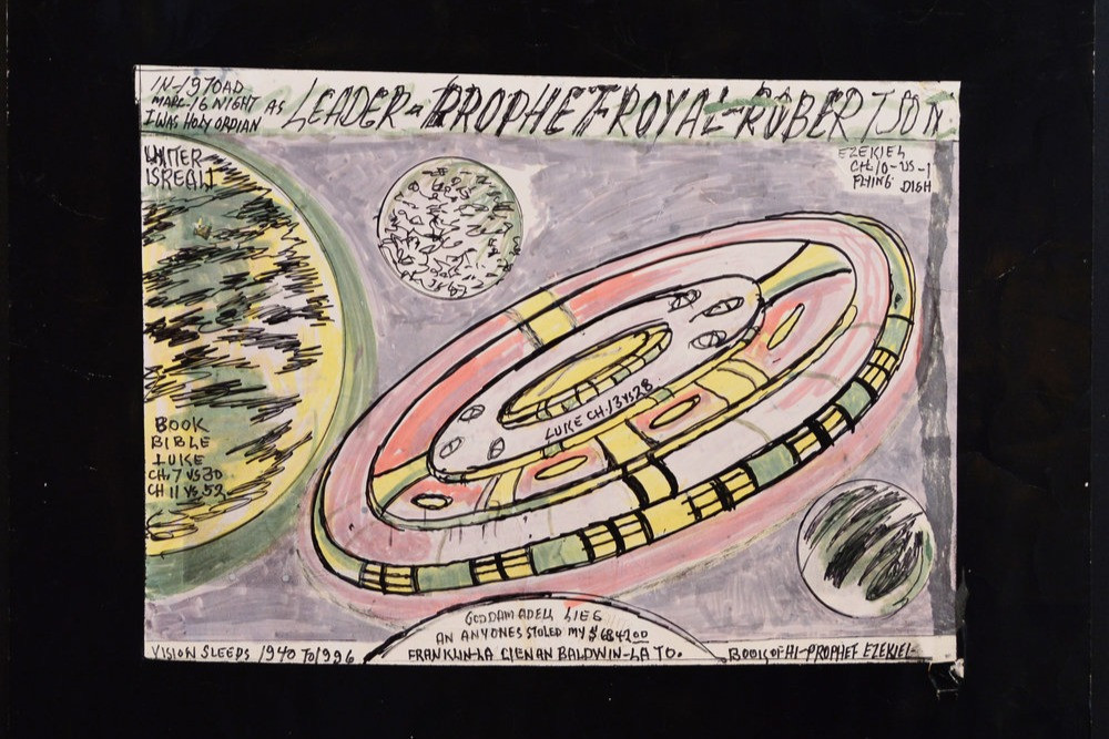 A drawing by black outsider artist Royal Robertson, pink and green space theme