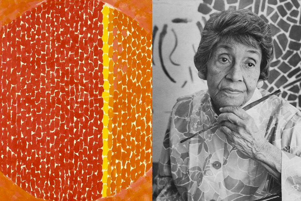 Black photograph of Artist Alma Thomas painting in her studio and repetitive style expressionist painting in orange red and yellow