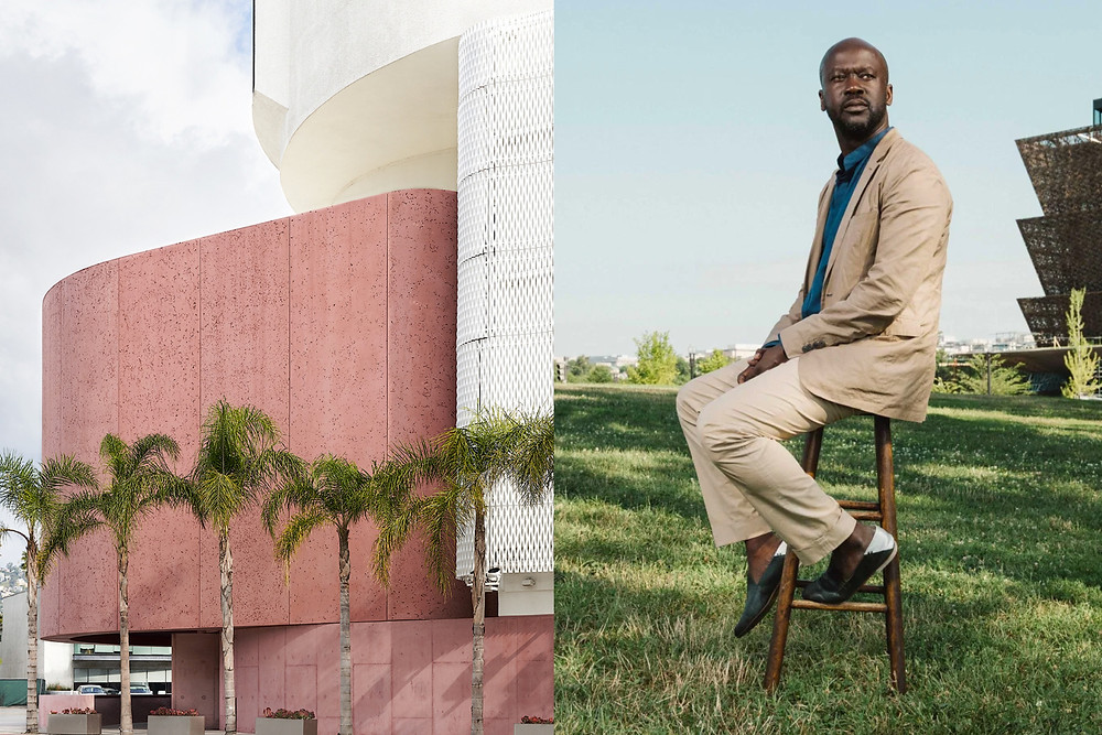Black architect David Adjaye sits in front of National Museum of African American History, along side another pink building which he designed.