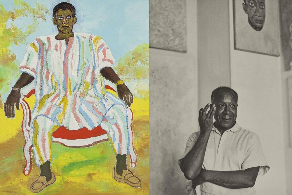 Artist Beauford Delaney standing in front of artwork of black man figure sitting down in bright striped colours