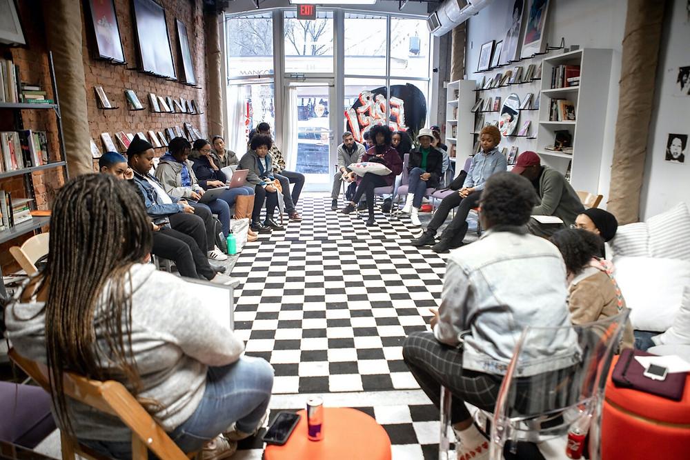 Members of black book club Noname Book Club gather to discuss books