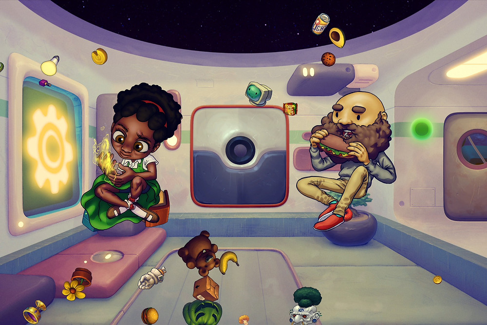 Black Video game characters Sydney + Stanley from Earth night float in space