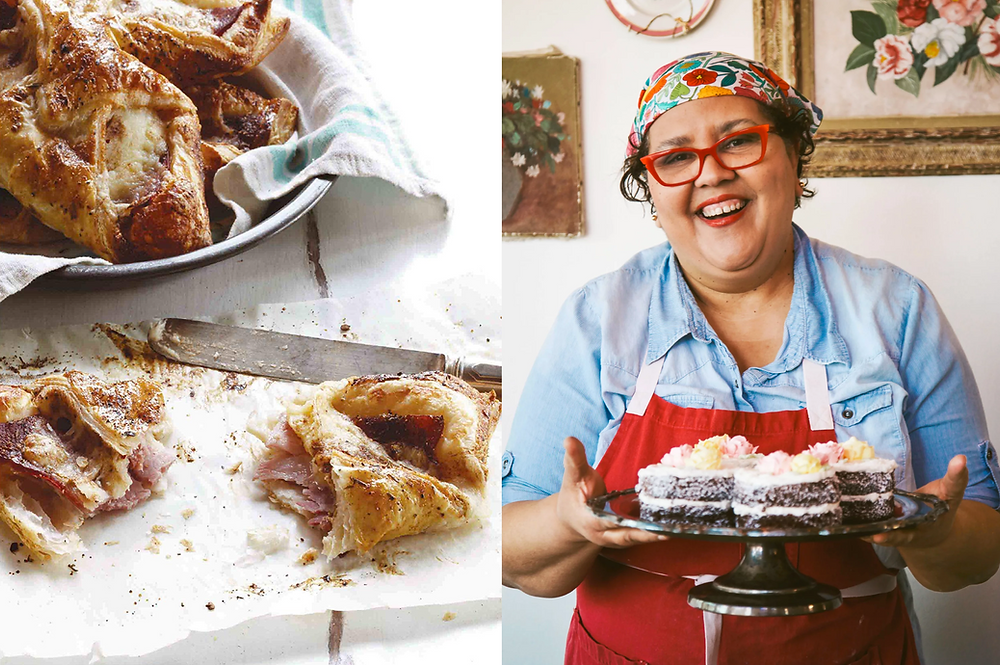 Black female baker Cheryl Day in the kitchen promoting her cookbook The Back In The Day Bakery  and ham and cheese croissants