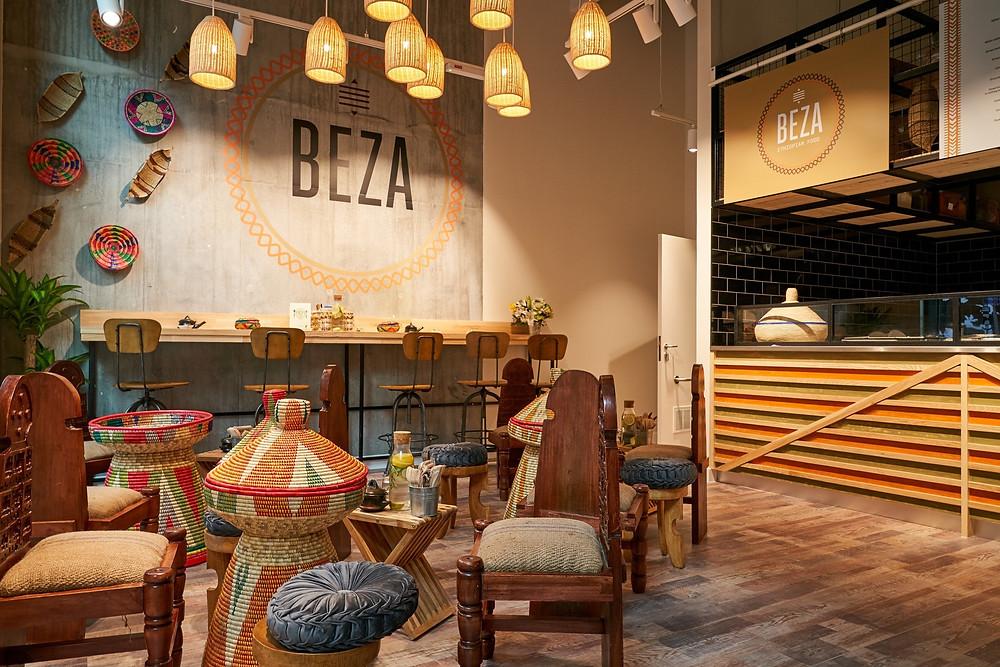The inside decor of black owned vegan ethiopian restaurant Beza